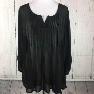 Torrid 3 Black Top Tuxedo Blouse Long Sleeve